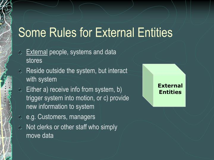 Some rules for external entities