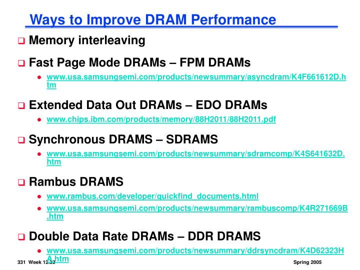Ways to Improve DRAM Performance