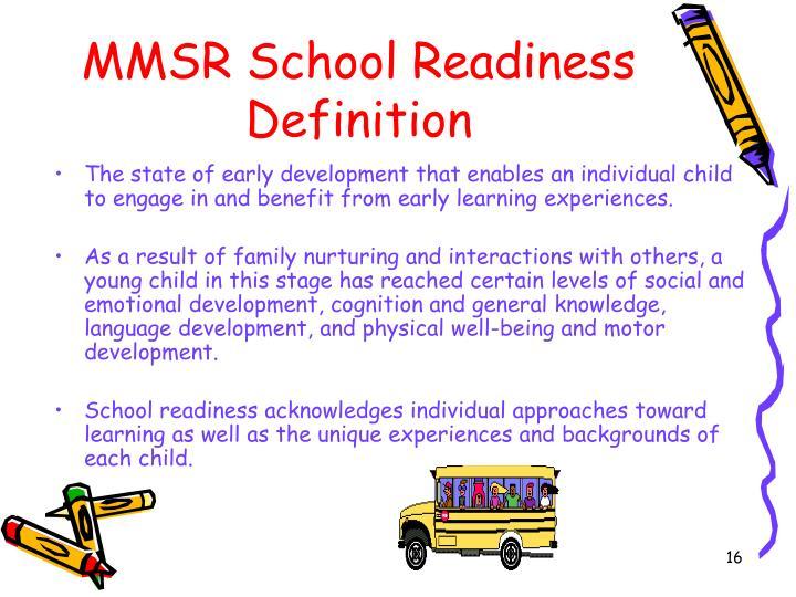 MMSR School Readiness Definition