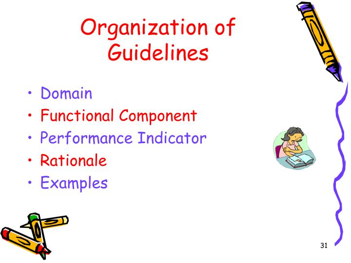 Organization of Guidelines