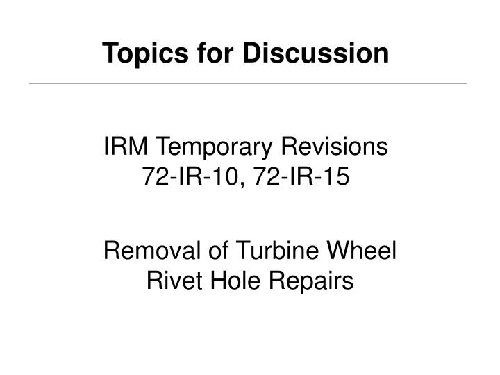 IRM Temporary Revisions