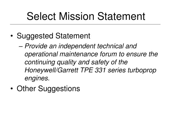 Select Mission Statement