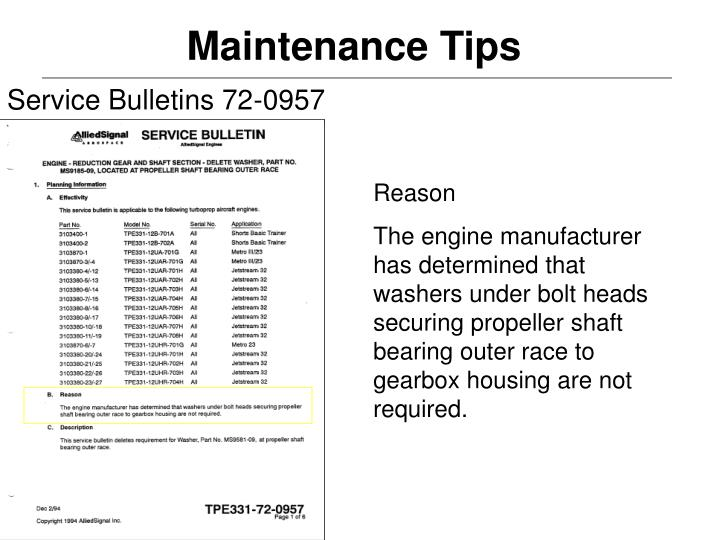Service Bulletins 72-0957