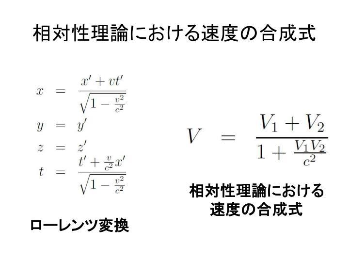 相対性理論における速度の合成式