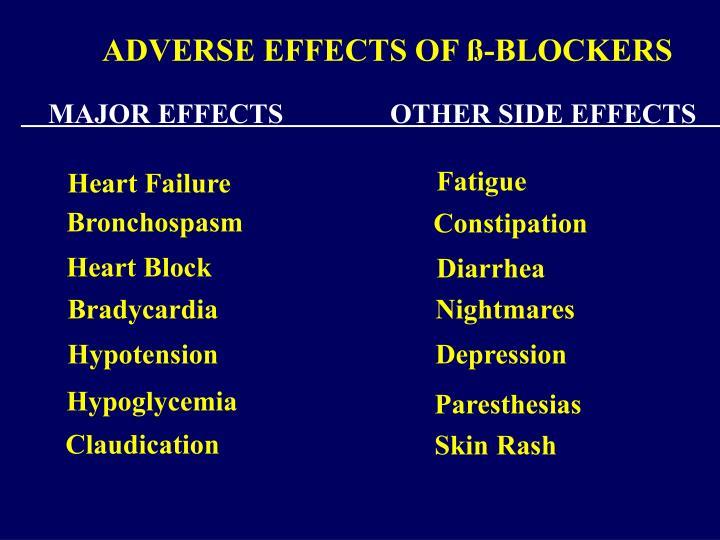 ADVERSE EFFECTS OF ß-BLOCKERS