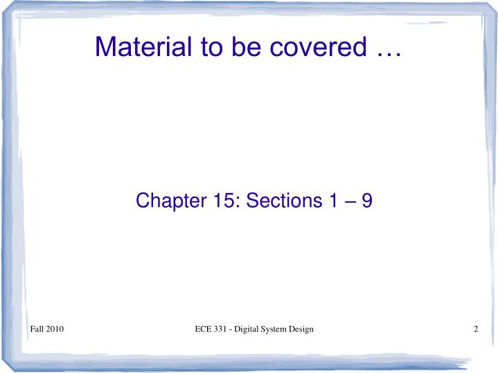 Chapter 15 sections 1 9