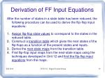 derivation of ff input equations