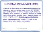elimination of redundant states