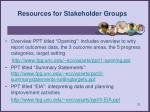 resources for stakeholder groups