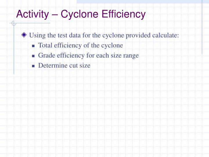 Activity – Cyclone Efficiency