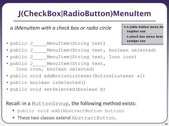 J(CheckBox RadioButton)MenuItem