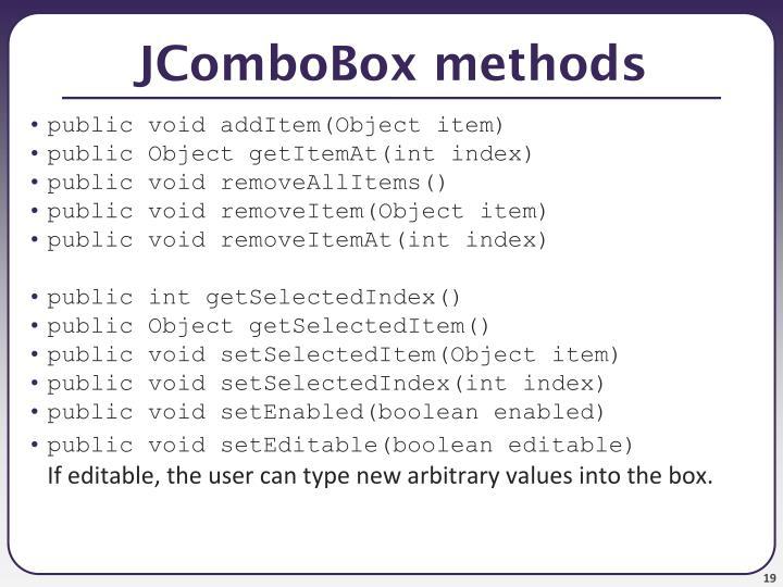 JComboBox methods