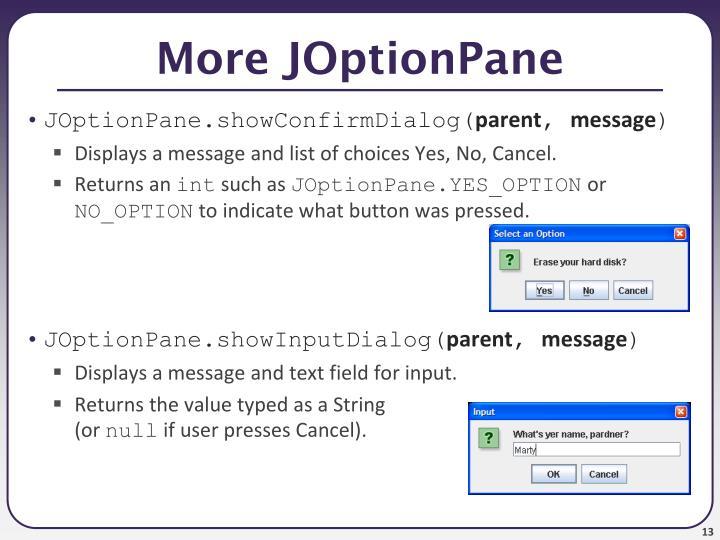 More JOptionPane