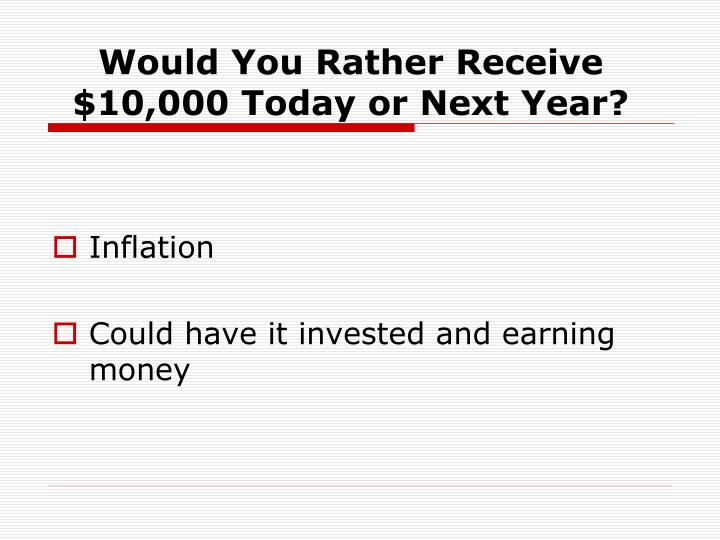 Would You Rather Receive $10,000 Today or Next Year?