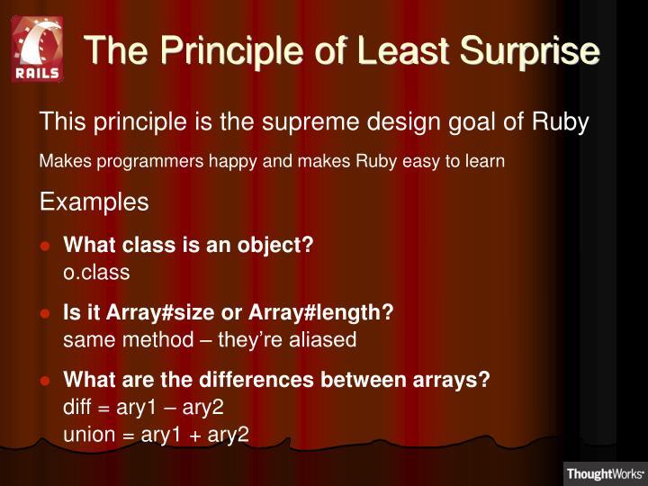 The Principle of Least Surprise