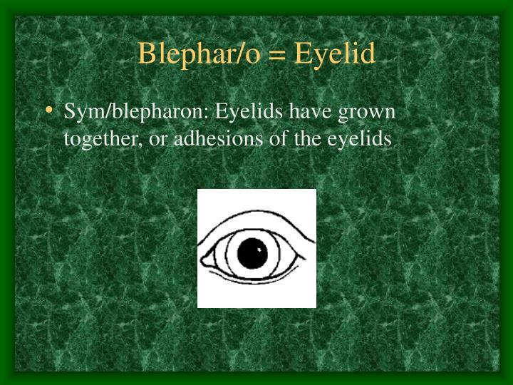 Blephar/o = Eyelid