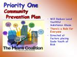 priority one community prevention plan