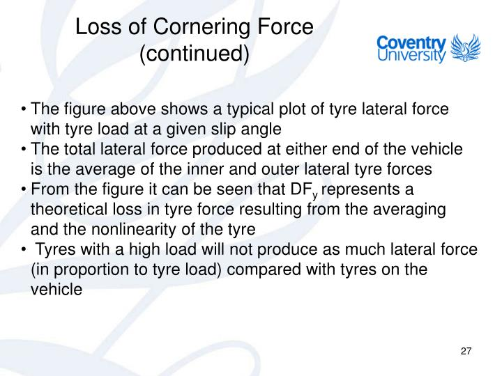 Loss of Cornering Force (continued)