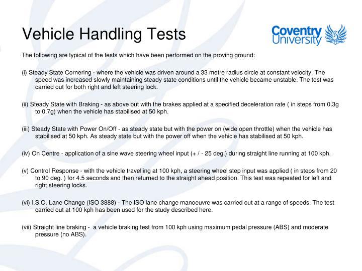 Vehicle Handling Tests