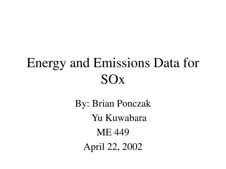 Energy and Emissions Data for SOx