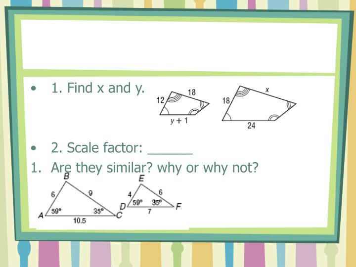1. Find x and y.