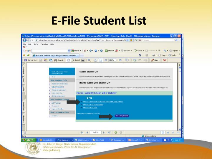 E-File Student List