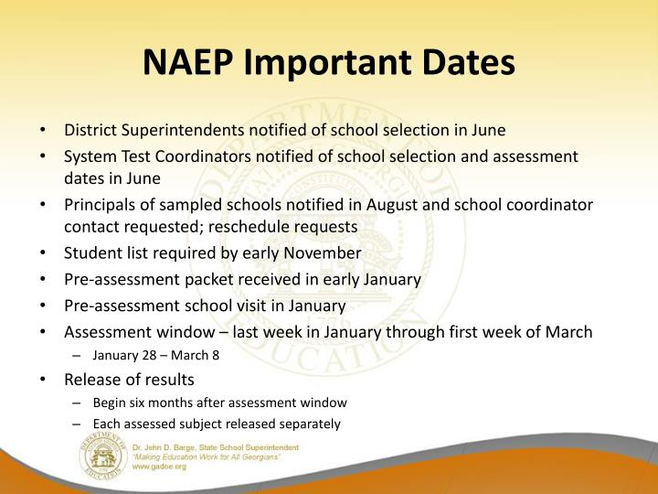 NAEP Important Dates