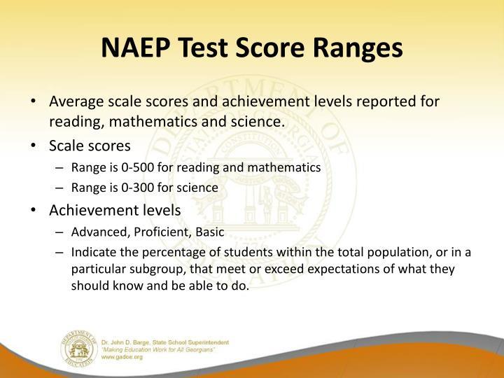 NAEP Test Score Ranges
