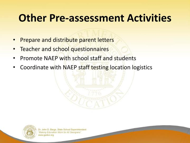 Other Pre-assessment Activities