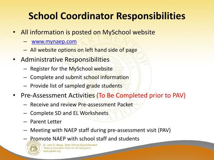 School Coordinator Responsibilities