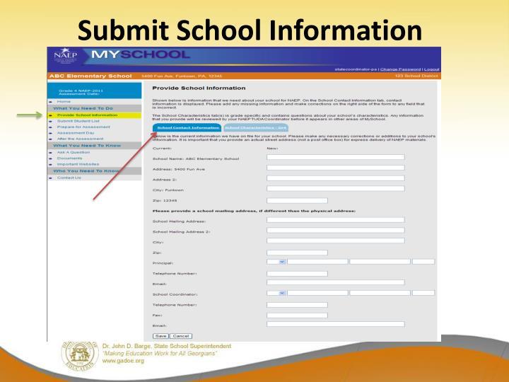 Submit School Information