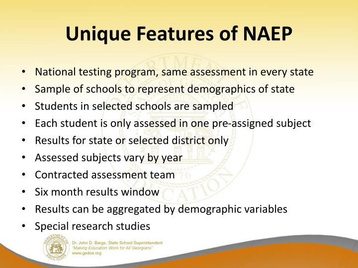 Unique Features of NAEP