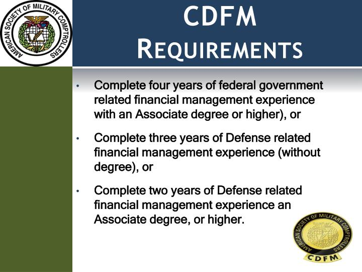 CDFM Requirements