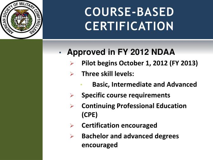 COURSE-BASED CERTIFICATION