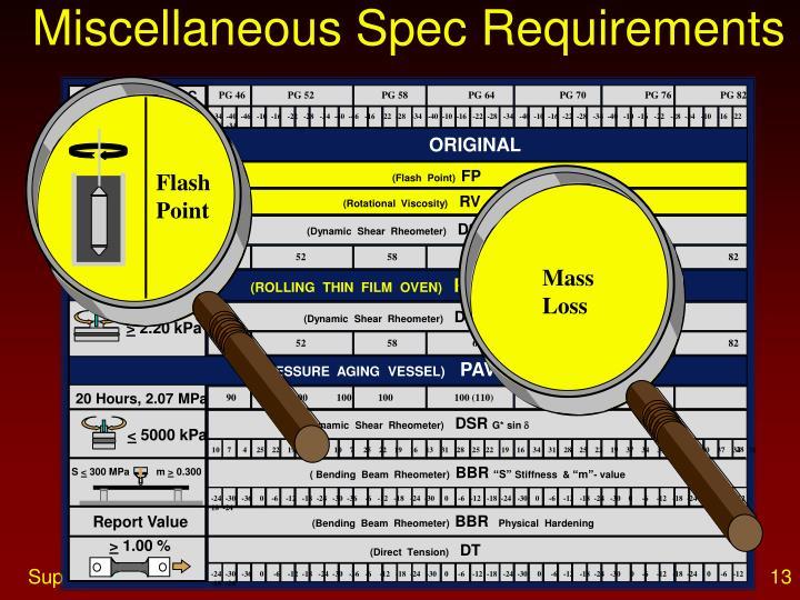 Miscellaneous Spec Requirements