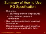 summary of how to use pg specification