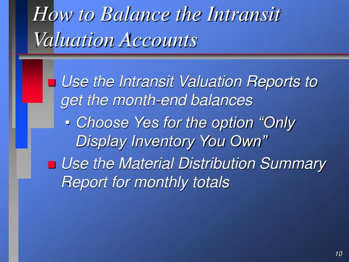 How to Balance the Intransit Valuation Accounts