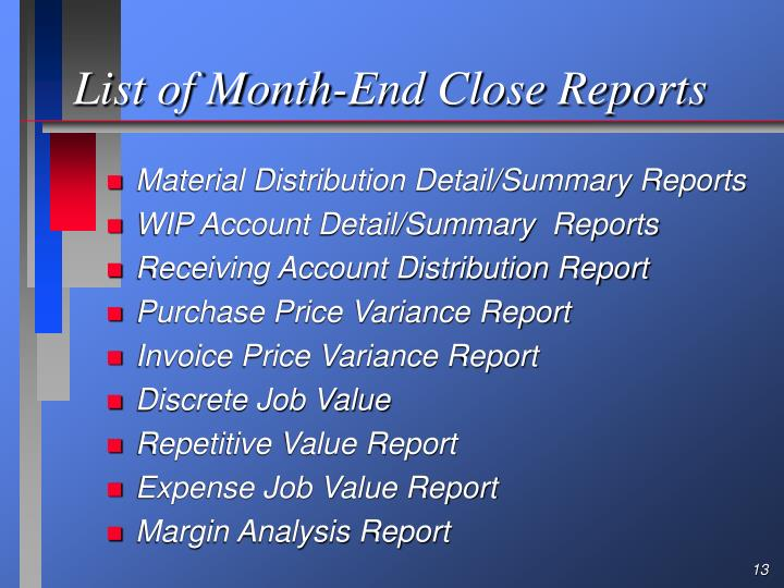 List of Month-End Close Reports