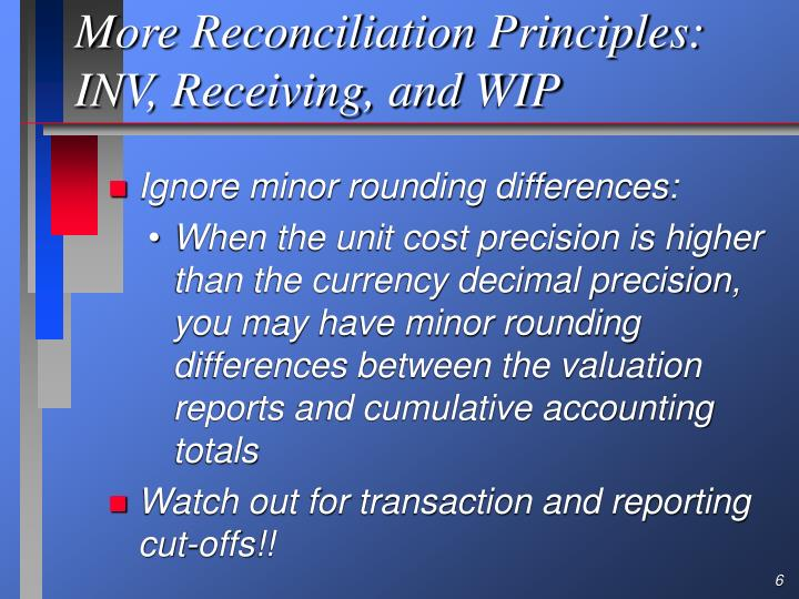 More Reconciliation Principles: INV, Receiving, and WIP