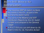 report drill down to the general ledger