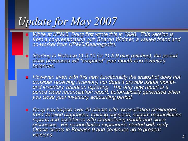 Update for May 2007