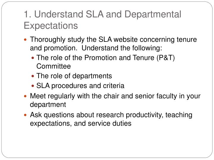 1. Understand SLA and Departmental Expectations
