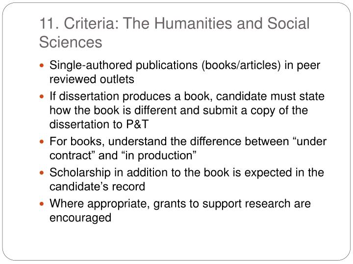 11. Criteria: The Humanities and Social Sciences