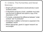 11 criteria the humanities and social sciences