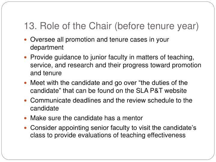 13. Role of the Chair (before tenure year)