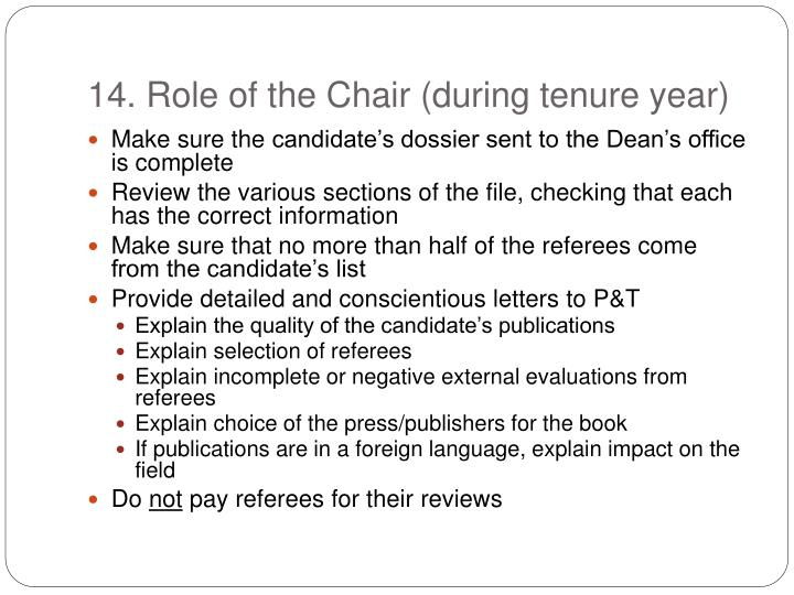 14. Role of the Chair (during tenure year)