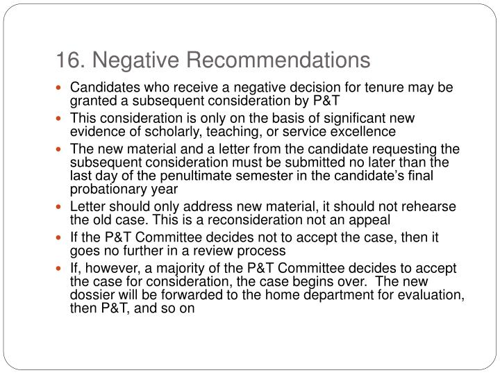 16. Negative Recommendations