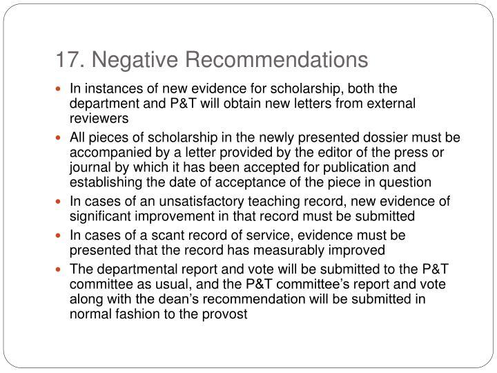 17. Negative Recommendations