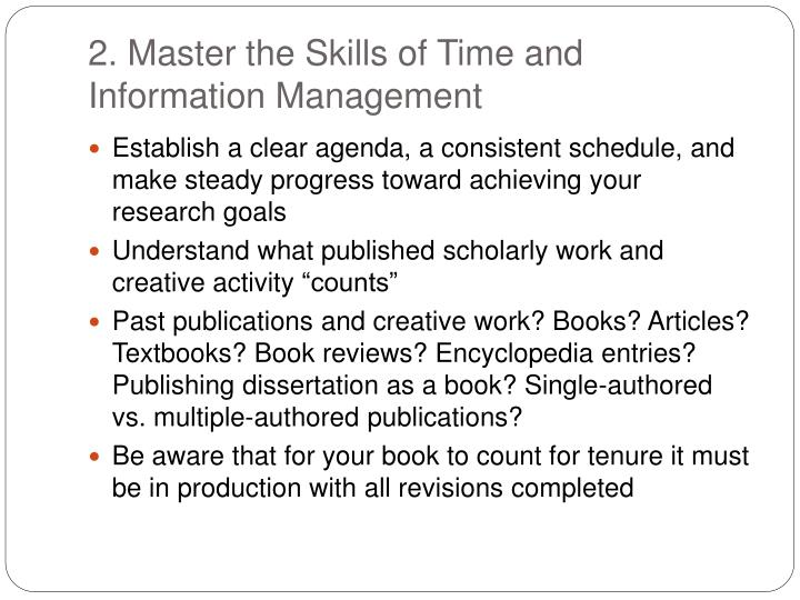 2. Master the Skills of Time and Information Management