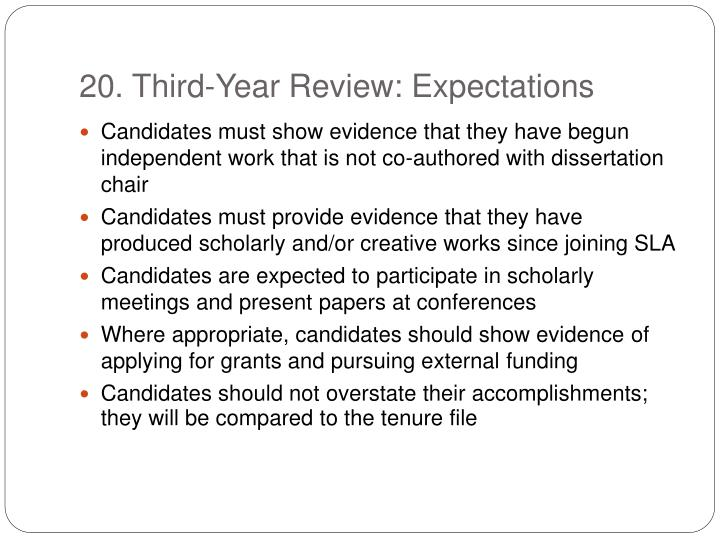 20. Third-Year Review: Expectations